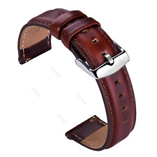 Genuine Leather Watch Band 18 20 22mm Quick Release Belt Replacement Strap Black