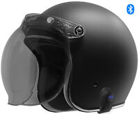 2020 Bluetooth GDM Renegade Open Face Helmet 3/4 DOT Matte Black + SHIELD OPTION