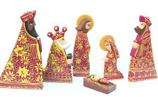 Nativity Set Christmas Cedarwood Colorful Handmade Figurines 6 Pcs Set Ethnic