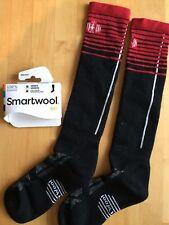 SmartWool PhD SKI Light Pattern Socks–Black/Red, Snowboard Winter –Men/Women MED