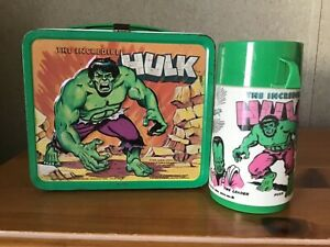 VINTAGE THE INCREDIBLE HULK LUNCHBOX AND THERMOS