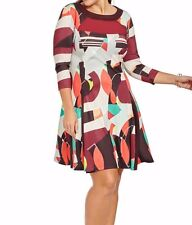 Jete Abstract Printed Sheer Inset Women Dress Size 2X (18W-20W)