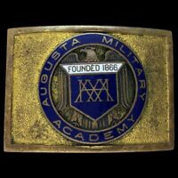 Vintage Augusta Military Academy Cadet Uniform Antique Brass 1940s Belt Buckle