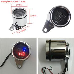 Motorcycle Motorbike Digital Tachometer Voltmeter Gauge Voltage Waterproof 12V