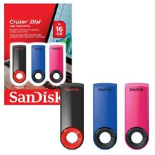 SanDisk Cruzer Dial 16GB USB 2.0 Flash Drive Stick Various Colours & Pack Size