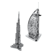SET of 2 Fascinations Metal Earth Burj Al Arab & Burj Khalifa 3D Steel Model Kit