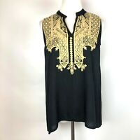 Ivy Jane Sleeveless Embroidered Black Rayon Tunic Top Size XS