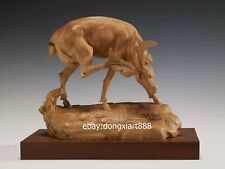 Chinese Boxwood Masterwork elk Deer wapiti caribou megaloceros Animal sculpture