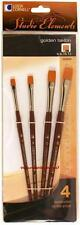 Loew Cornell STUDIO ELEMENTS 1024929 GOLDEN TAKLON Brush Set 4, 6, 10, 12 SHADER