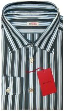 $695 NEW KITON GREEN WHITE BLUE STRIPE HANDMADE ITALY DRESS SHIRT EU 44 17.5
