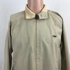 Vintage 90s IZOD Lacoste Windbreaker Jacket M Beige Plaid Lining Mens Alligator