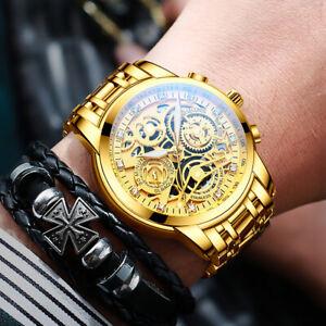 Nektom Men's Stainless Steel Gold Skeleton Diamond Watch Luxury Luminous Watches
