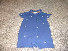 JANIE AND JACK 12-18 BLUE SAILBOAT EMBROIDERED ROMPER OUTFIT COASTAL RESORT