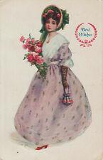 Best Wishes Doll Postcard 1909 Mansfield IL 1¢ Franklin