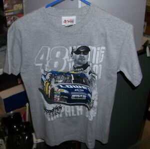 VINTAGE CHASE NASCAR #48 LOWES GRAY YOUTH TEE SHIRT JIMMIE JOHNSON SMALL NWT