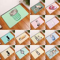Cute Cartoon-cat Pattern Square Floor Kitchen Carpet Anti-slip Home Door Mats