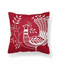 Red Designer Cushion Cover 18 x 18 inches for sofa & chair, Modern vintage style