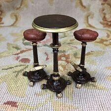 Pat Tyler Dollhouse Miniature Tall Bar Table & 2 Bar Stools