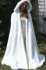 Warm Faux fur Braut mantel elfenbein Jacke wickel schal Lange Stolen mit Kapuze