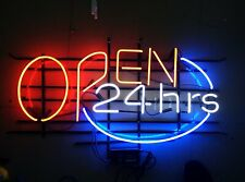"Open 24 Hrs 24""x20"" Neon Sign Wall Store Shop Light Lamp With Dimmer"