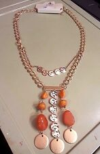 Fashion Necklace - CATO - New with tag - Gold Orange  Bird of Paradise