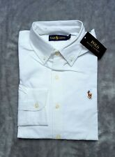 Ralph Lauren Mens White Custom Fit Long Sleeve Oxford Shirt Formal Medium M