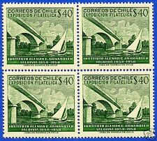 CHILE, BRIDGE OVER CALLE-CALLE RIVER IN VALDIVIA, BLOCK OF FOUR, YEAR 1959, MNH