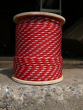 """Sailboat Rigging Rope 5/16"""" x 50' Red/White Double Braided Sheet Halyard Line"""