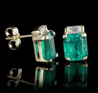 2.00 Carat Emerald & Diamond Women's Stud Earring In 14K Yellow Gold Finish