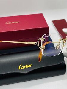 Vintage Cartier Logo Trim StainlessSteel Golden Rimless Sunglasses  CT0A1891