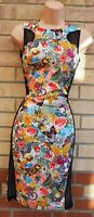 BLUE VANILLA MULTI COLOUR FUNKY BAROQUE VINTAGE FLORAL BODYCON MESH DRESS 10 S