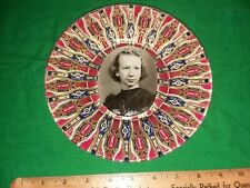 "OOAK 8"" Clear Art Plate Decoupaged With Vintage Cigar Bands & 1920's Girl Photo"