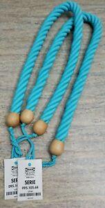 Thick Rope Wood Curtain Tieback Chunky Tieback Nautical Tieback Baby Blue Set 2