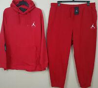 NIKE AIR JORDAN FLEECE SWEATSUIT HOODIE + PANTS RED WHITE RARE NEW (SIZE XL)
