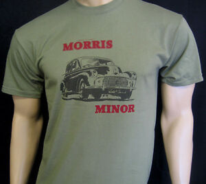 MORRIS MINOR Classic Car T-SHIRT - In Blue, Green or Khaki - S, M, L, XL & XXL