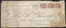 1-1862 US Adjutant General Office ENVELOPE COVER # 65 -3¢ Washington Strip of 3