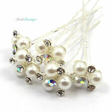 Bridal Wedding Prom Silver Crystal Diamante & 3 Pearl Hair Pins Clips Grips HP03