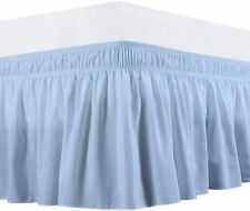 Bedsheet Comforter Wrap Around Bed Skirt Three Side fiber Extra Size(Light blue)