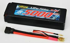 Carson 500608136 Lipo Batterie 7,4 v/5000 mAh 30c contact 4 MM + Neuf +