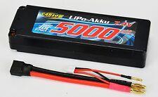 Carson 500608136 LIPO BATTERIA 7,4 mAh v/5000 contatto 30c 4 mm + Nuovo +