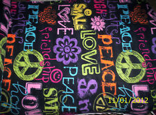 "New Black with Multi Color Love and Peace Fleece Fabric 1 yard 34"" x 60"" Piece"