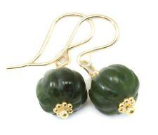 Jade Earrings Green Nephrite Natural Pumpkin Carved Swirl Drop 14k Gold Sterling