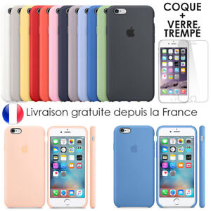 Coque Silicone Apple iPhone 6 7 8 Xr Xs X 11 Pro Max + Vitre Film Verre trempé