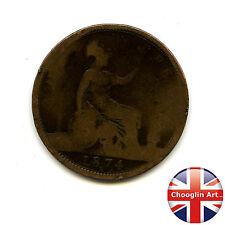 A British Bronze 1874 H VICTORIA PENNY Coin (Heaton)           (Ref:1874_136/37)