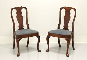 HICKORY CHAIR Solid Mahogany Queen Anne Style Dining Side Chairs - Pair B