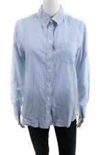 Equipment Femme  Womens Button Down Stripe Print Top White Blue Size Small