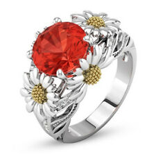 Orange Color Round Jacinth Ruby Daisy Charm Ring Silver Lady Size 6