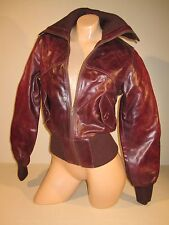 Solo NY- Leather Jacket - Size Small - Maroon - Motorcycle Style - Excellent
