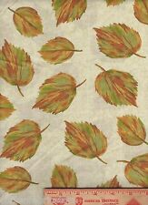 Tossed Fall Leaves Leaf Fabric BTY