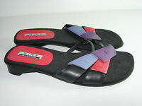 WOMENS NEW BLACK PURPLE LEATHER FLIP FLOPS THONGS SANDALS HEELS SHOES SIZE 6.5 M
